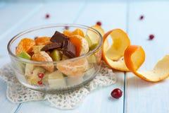 Salada de fruto com chocolate Imagem de Stock