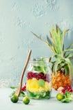 Salada de fruto no frasco de pedreiro Imagens de Stock