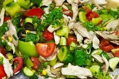 Salada de galinha com os vegetais coloridos brilhantes frescos Fotografia de Stock Royalty Free