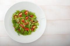 Salada de Mediterranian com molho fotografia de stock