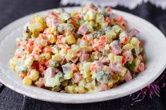 Salada de Olivier, alimento do Natal Imagem de Stock
