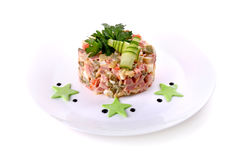 Salada de Olivier com estrelas verdes Fotos de Stock Royalty Free