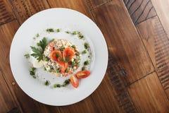 Salada de Olivier com truta Imagem de Stock