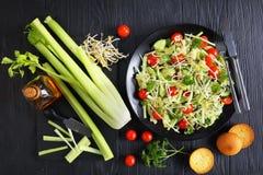 Salada de Orzo com brotos e vegetarianos Fotografia de Stock