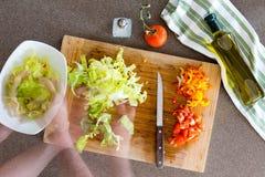 Salada de Preparing Fresh Healthy do cozinheiro na cozinha Fotografia de Stock