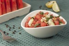Salada de refrescamento da melancia, do pepino e da hortelã Imagem de Stock