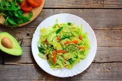 Salada de repolho saudável do abacate do vegetariano Salada home da salada de repolho com fatias de abacate frescas, os abricós s foto de stock
