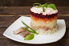 Salada de Shuba Beterrabas, cenouras, batatas, cebolas, arenques e maionese cozinhados A culinária clássica do russo Restaurante imagens de stock royalty free