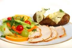 Salada de Turquia e jantar da batata Fotografia de Stock