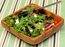 Salada de verdes misturados e de feta Fotografia de Stock Royalty Free