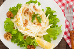 Salada de Waldorf com maçãs, aipo e as nozes verdes Foto de Stock Royalty Free