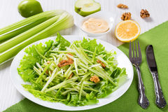 Salada de Waldorf com nozes, a maçã verde e o aipo Imagem de Stock