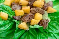Salada deliciosa com carne Fotografia de Stock Royalty Free