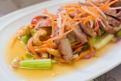 Salada do aipo com carne de porco grelhada Imagens de Stock Royalty Free