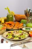 Salada do aipo com datas, amêndoas e queijo Foto de Stock Royalty Free