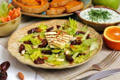Salada do aipo com datas, amêndoas e queijo Imagens de Stock