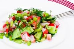 Salada do aipo, da vara do caranguejo, do pepino, de azeitonas verdes e de aneto Fotografia de Stock
