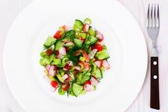 Salada do aipo, da vara do caranguejo, do pepino, de azeitonas verdes e de aneto Imagem de Stock