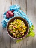 Salada do arroz com galinha Fotografia de Stock
