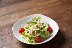 Salada do broto do girassol com tomate pequeno Imagens de Stock Royalty Free