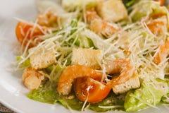 Salada do camarão com pão torrado Fotografia de Stock