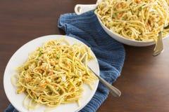 Salada do caranguejo do Linguine Fotos de Stock Royalty Free