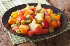 Salada do close-up maduro dos frutos tropicais em uma placa horizontal Fotos de Stock