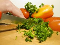 Salada do corte das mãos Imagem de Stock