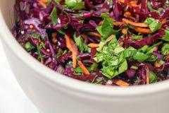Salada do fundo da couve vermelha com cenouras e espinafres Imagens de Stock Royalty Free