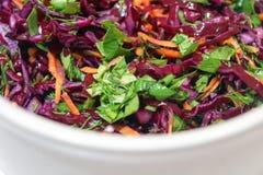 Salada do fundo da couve vermelha com cenouras e espinafres Fotografia de Stock