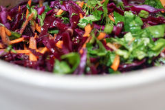 Salada do fundo da couve vermelha com cenouras e espinafres Fotografia de Stock Royalty Free