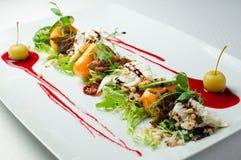 Salada do gourmet do close-up fotografia de stock