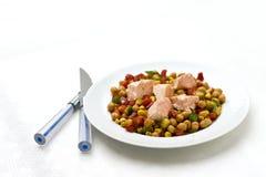 Salada do grão-de-bico com salmões fotografia de stock