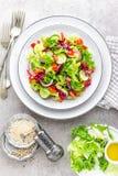 A salada do pepino fresco, aipo, pimenta doce, frize a alface, a cebola vermelha e as sementes de sésamo com azeite Vegetariano s Foto de Stock