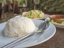 A salada do pepino (som Tam), asas de frango frito, cozinhou o arroz, estilo tailandês do alimento Fotos de Stock Royalty Free