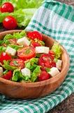 Salada do tomate com alface, queijo Fotografia de Stock