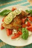salada do tomate com galinha e cal roasted imagens de stock royalty free