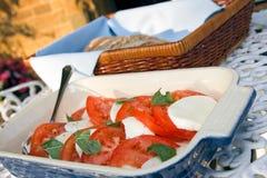 Salada do tomate e do mozzarella com ciabatta Imagem de Stock