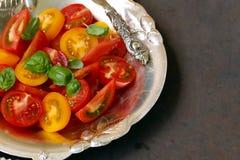 Salada do tomate vermelho e amarelo Foto de Stock
