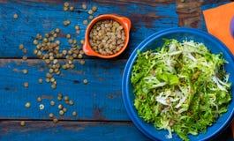 Salada do vegetariano com alface e lentilha Fundo alaranjado azul colorido Imagens de Stock