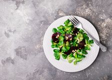 Salada do vegetariano de beterrabas frescas da alface dos vegetais crus em uma placa redonda branca em um fundo cinzento fotos de stock