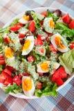 Salada do verão com tomates e ovos cozidos Fotografia de Stock