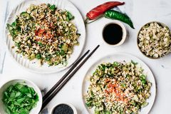 Salada dos brotos e dos pepinos de feijões de Mung Imagens de Stock Royalty Free