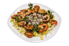 Salada dos camarões com arroz e vegetais Fotografia de Stock Royalty Free