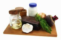 Salada dos ingredientes. Prato bielorrusso. Imagens de Stock