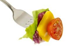 Salada e forquilha Fotografia de Stock Royalty Free