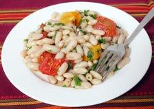 Salada e forquilha do feijão Imagem de Stock