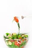 Salada em uma bacia de vidro Fotografia de Stock Royalty Free