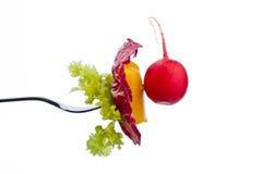 Salada em uma forquilha Imagens de Stock