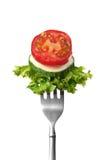 Salada em uma forquilha Fotos de Stock Royalty Free